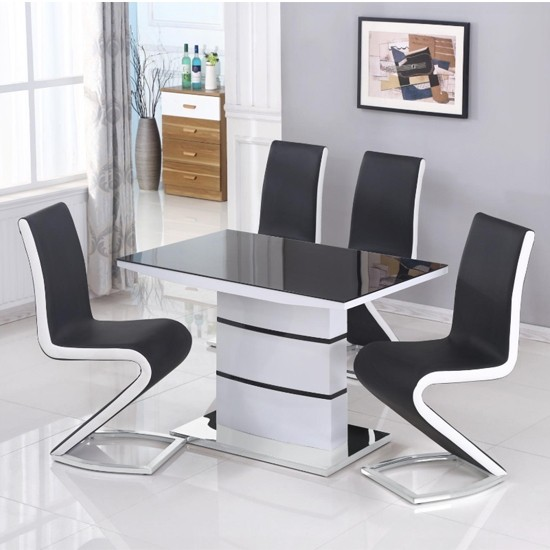 aldridge small black glass top dining table in white high