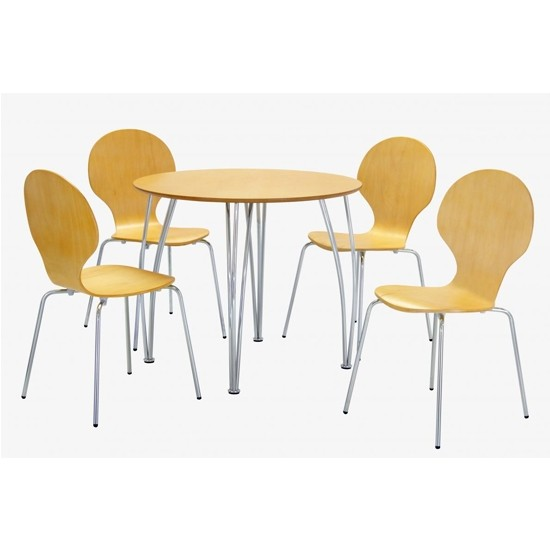 Fiji Round Wooden Dining Set In Beech With 4 Chairs ...
