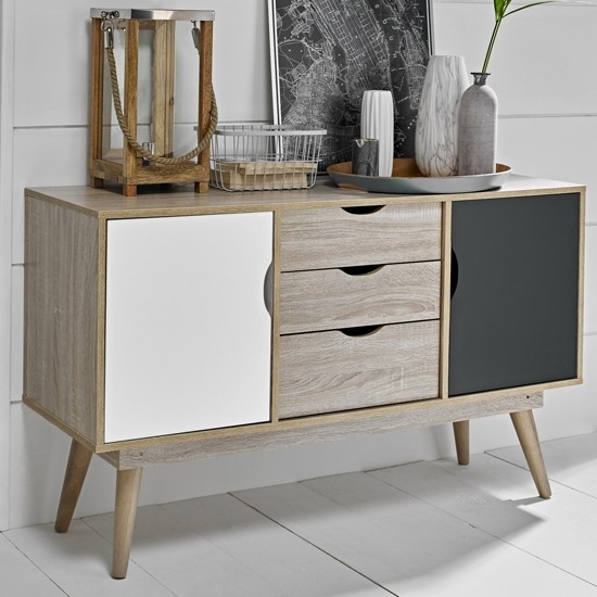 Scandi Oak Wooden Sideboard With 1 Grey And 1 White Doors ...