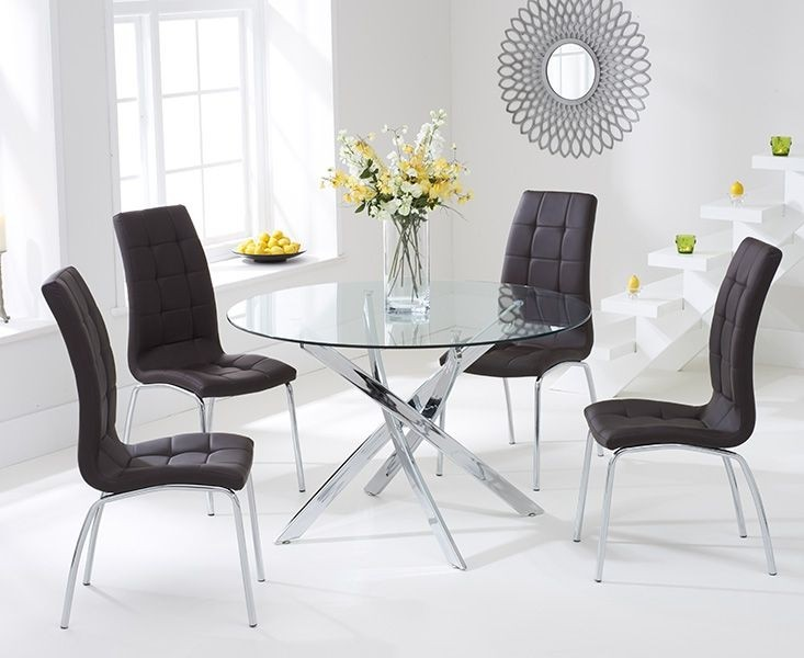 Panama Round Glass Dining Table With 4 Opal Brown Dining Chairs Elegant Furniture Uk