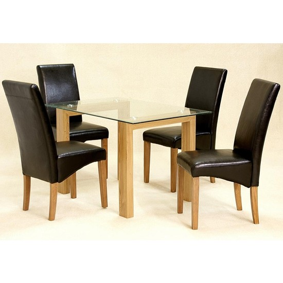 Small Dining Table Set For 4, Adina Small Glass Dining Set With Oak Legs And 4 Cyprus Chairs Elegant Furniture Uk
