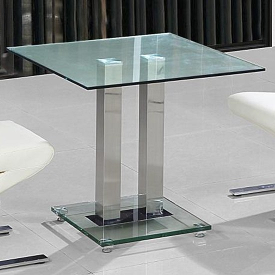 Ankara Small Clear Glass Dining Table With Chrome Stand Elegant Furniture Uk