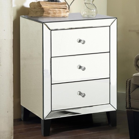 Augustina Mirrored Bedside Cabinet With, 3 Drawer Mirrored Bedside Table Very
