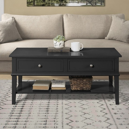 Franklin Wooden Coffee Table In Black With 2 Drawers   Elegant Furniture UK