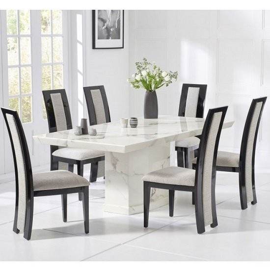 Carvelle Marble Dining Table In White With Eight Elbani Dining Chairs Elegant Furniture Uk