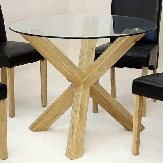 Saturn Medium Round Glass Dining Table, Round Glass And Oak Dining Table