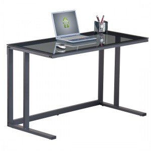 Air Smoked Glass Computer Desk With Black Metal Frame