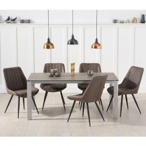 Alejandra Brown Ceramic Dining Table With 6 Mink Harley Chairs