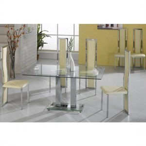 Ankara Large Clear Glass Dining Set With Chrome Legs And 6 Trinity Chairs