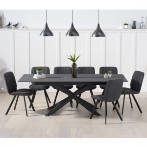 Britolli Extending Grey Effect Glass Dining Table 6 Grey Maui Chairs