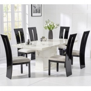Carvelle Marble Dining Table In White With Six Arizona Chairs