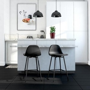 Calvin Black Faux Leather Upholstered Bar Stools In Pair