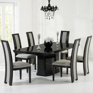 Carvelle Marble Dining Table In Black With 6 Venezia Grey Chairs