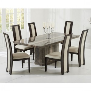 Carvelle Marble Dining Table In Brown With 6 Memphis Cream Chairs