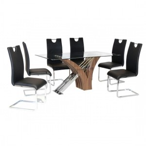 Caspian Clear Glass Dining Set With Walnut Legs And 6 Chairs
