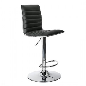 Colby Faux Leather High Back Bar Stool In Black