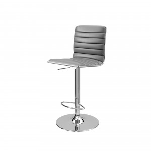 Colby Faux Leather High Back Bar Stool In Grey