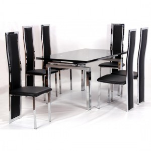 Highgrove Extending Black Glass Dining Set With 6 Trinity Chairs