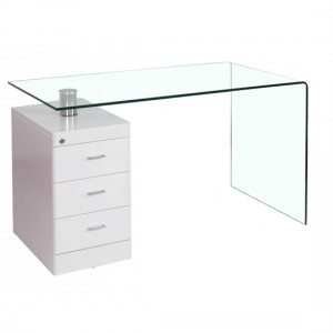Hornet Glass Laptop Desk With White High Gloss 3 Drawers