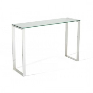 Kayla Glass Top Console Table With Stainless Steel Base