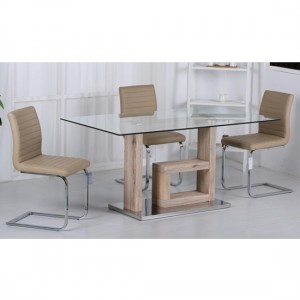Lucia Clear Glass Dining Set With Natural Legs And 6 PU Cream Chairs