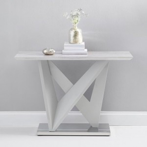 Kelsey High Gloss Marble Effect Console Table In Light Grey