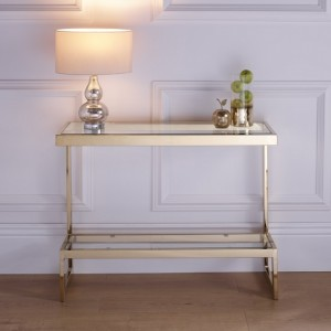 Mera Rectangular Console Table In Clear Glass Top With Gold Base