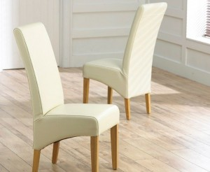 Roma Cream Bonded Leather Dining Chairs With Oak Legs In A Pair