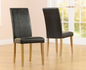 Atlanta Dining Chair In Brown With Wooden Oak Legs In A Pair