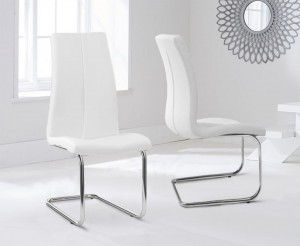 Ramet Dining Chair In White Faux Leather In A Pair