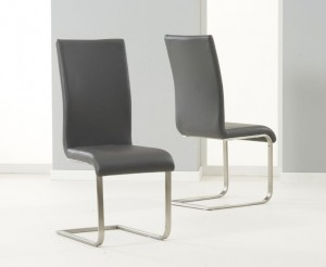 Malibu Faux Leather Dining Chair In Grey And Chrome Legs In Pair