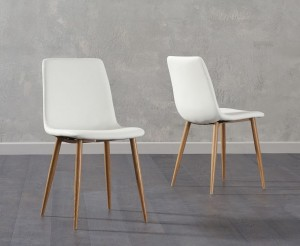 Parson Dining Chair In Cream Faux Leather And Oak Legs In A Pair