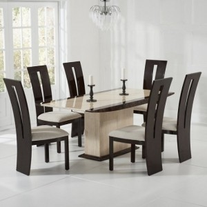Arturo Marble Dining Table Cream And Brown With 6 Arizona Chairs