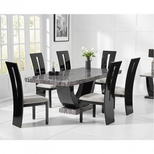 Memphis Marble Small Dining Table In Grey With Six Arizona Chairs