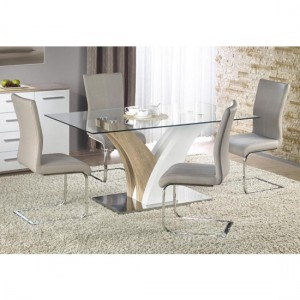 Simone Clear Glass Dining Set With 6 Chairs