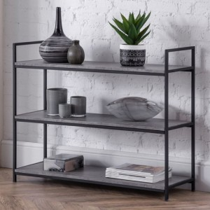 Staten Wooden Low Bookcase In Concrete Effect