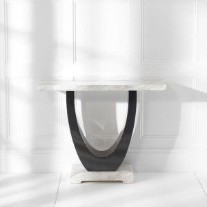 Memphis Marble Console Table Rectangular In Cream And Black