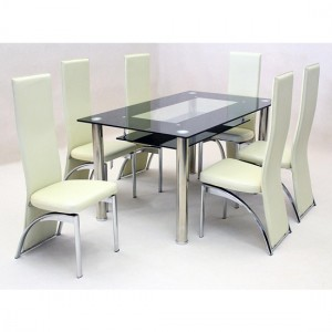 Vegas Large Black Border Glass Dining Set With 6 Durban Chairs