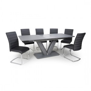 Venus Extra Large Extendable Grey Tempered Glass Dining Table With 6 Callisto Leather Black Dining Chairs