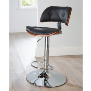 Victoria Faux Leather Bar Stool In Black And Walnut