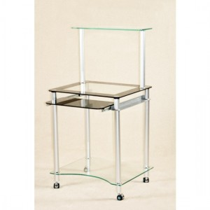 Zano Glass Computer Table White Chrome Legs And Rollers