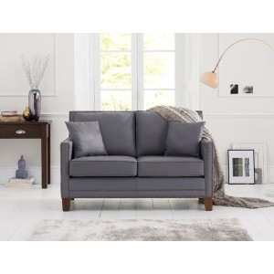 Rochester 2 Seater Sofa In Grey Leather With Dark Ash Legs