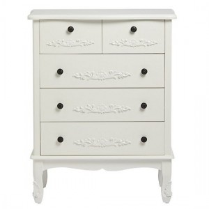 Harper Wooden Chest Of Drawers Large In White With 5 Drawers