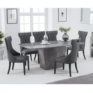 Rome Marble Dining Table In Grey With Six Dewall Dining Chairs