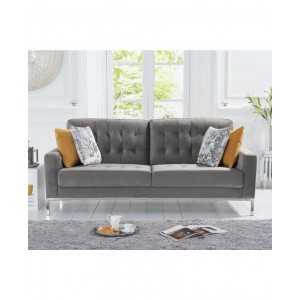 Kosmo 3 Seater In Velvet Grey With Metal Legs