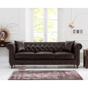 Concetta 3 Seater Sofa In Brown Leather With Dark Ash Legs