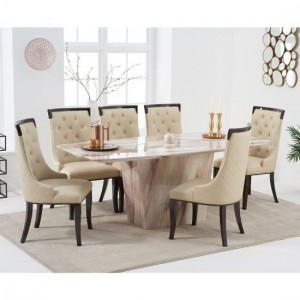 Rome Marble Dining Table In Brown With Six Adira Dining Chairs
