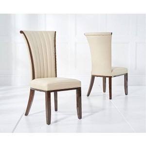 Horizon Dining Chair In Cream Bonded Leather In A Pair