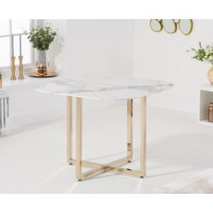 Abingdon Marble Effect Top Dining Table In White With Gold Leg