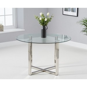 Sparta Round Glass Dining Table In Clear With Chrome Base